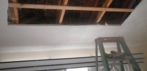 Partial Ceiling Removal Due To Smoke Stains